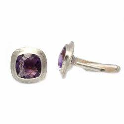 Silver Amethyst Gemstone Mens Cufflinks