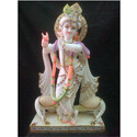 Marble Krishna with Peacock & Flute Statues