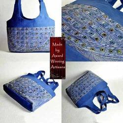 Denim Mirror Work Large Shoulder Tote Bag