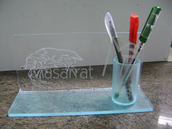 Acrylic Engraved Dolphin Pen Holder