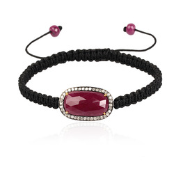 Ruby Gemstone Macrame Bracelet Jewelry