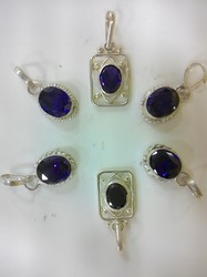 Blue Sapphire White Metal Pendant