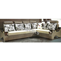 Head Rest Wood Panel Corner Sofa Set - Fabric