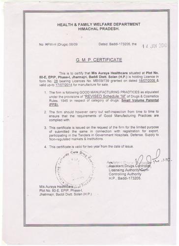 G.M.P Certificate