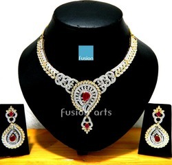 Ruby Studded American Diamond Necklace Set