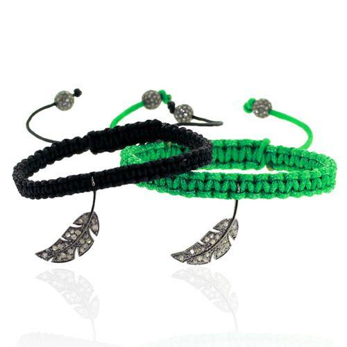 Diamond Leaf Charm Macrame Bracelet
