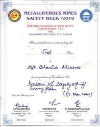 Metalliferous Mines Safety Week Certificate 2010