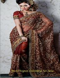 Heavy Designers Embroidered Net Sarees