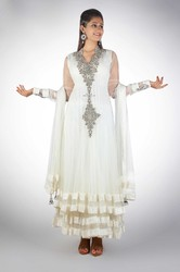 Regal White Floor Length Anarkali