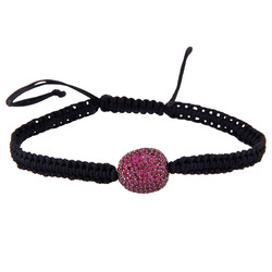 925 sterling silver ruby pave bead macrame fashion bracelet