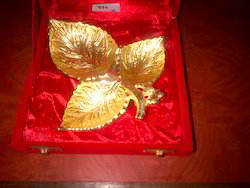 Gold Plated Leaf Shape Bowl With Spoon