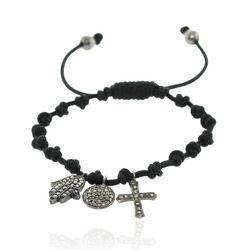 Diamond Religious Charm Macrame Bracelet