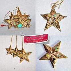 Golden Star Set of 3 Christmas Tree Decor - Hand Painted