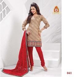 Red Embroidery Fancy Churidaar Kameez Suit