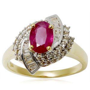 Yellow Gold Ring Blood, Ruby Diamond Ring