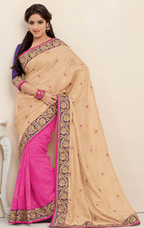 Cream+and+Pink+Tussar+Silk+and+Jacquard+Saree+with+Blouse