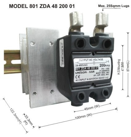 Din Rail Solid State Relay AC Solid State Relay DC to AC 16Amp