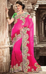 Light+Dark+Shaded+Pink+Color+Art+Silk+Saree+with+Blouse