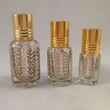 Attar Glass Bottles with Golden Leaf Pattern