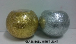 Glass Ball Candle Holder