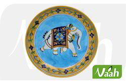 Vaah Blue Pottery Designer Wall Decor Plate with Elephant