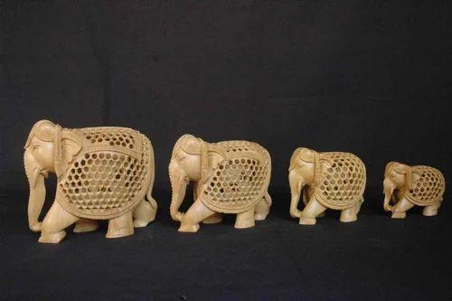 Wooden Elephant Family