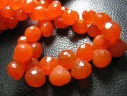 Orange Carnelian Micro Faceted Onion Tear Drops