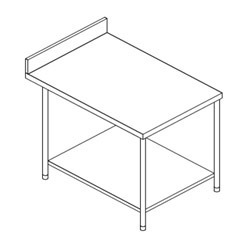 S.s.Work Table with 1 U/s