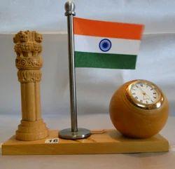 Wooden Ashoka Pillar with Clock