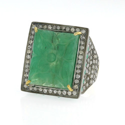 Emerald Carved Ring Jewelry