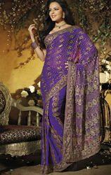 Bluish+Purple+Color+Faux+Georgette+Saree+with+Blouse