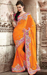 Light+Orange+Color+Faux+Georgette+Saree+with+Blouse