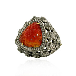 Pave Diamond Carving Orange Agate Rings