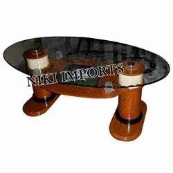 Round Glass Teapoy