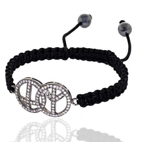 Pave Diamond Charm Macrame Bracelet