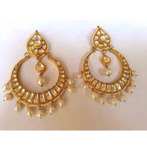 Indian Gold Plated Stones Kundan Necklace Earrings Party: Chand Bali Earrings Polki In