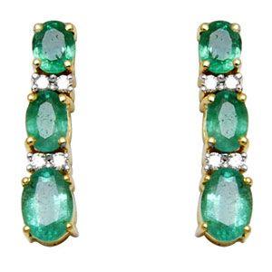 Emerald Hanging Earring, Long Earring Design in Yellow Gold