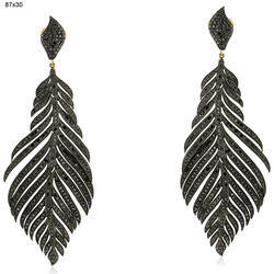 Natural Black Diamond Feather Earrings Jewelry