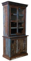 Salvage Timber Wood Colorful Hutch Display Cabinet S/2