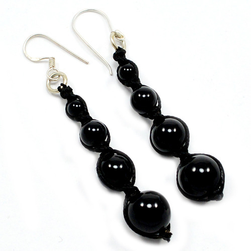 Black Onyx Gemstone Beaded Earrings