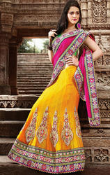 Magenta+and+Mustard+Color+Art+Silk+Jacquard+Lehenga+saree