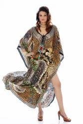 Digitally Printed Silk Crepe Kaftan