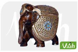 Vaah Wooden Elephant Showpiece With Metal Work