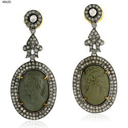 Pave Diamond Cameo Dangle Earrings