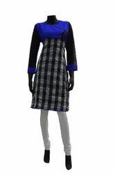 sf0009 blue black and off white coloured cotton kurti