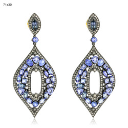 Pave Diamond Tanzanite Gemstone Earrings