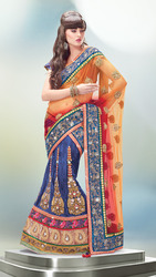 Designer Orange And Blue Lehenga Saree