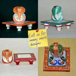 Marble Chowki Ganesha Statue Hand Painted - Many Colors