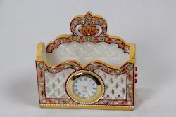 Marble Visiting Card Holder with Watch