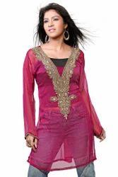 Pink+Full+Sleeves+Kurti